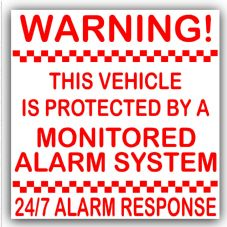 1 x Red on White Stickers-87mm-Vehicle Protected by a Monitored Alarm System-Car,Motorbike,Bike,Van,Truck,Taxi,Coach,Minicab,Mini-24/7 Response-Security
